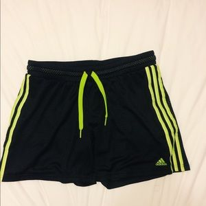adidas neon green athletic shorts